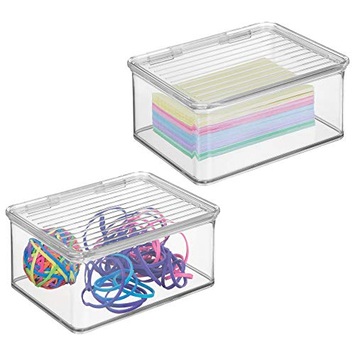 mDesign Small Mini Plastic Stackable Office Supplies Storage Organizer Box with Attached Hinged Lid, Holder Bin for Note Pads, Gel Pens, Staples, Dry Erase Markers, Tape, 2 Pack - Clear