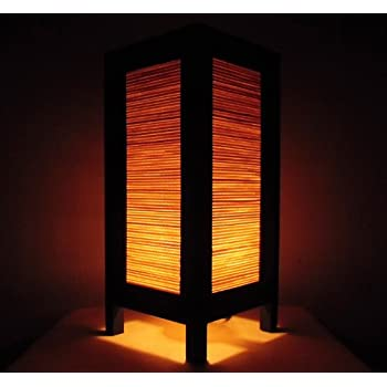 Thai Vintage Handmade ASIAN Oriental Classic Bamboo Art Bedside Table Light  Or Floor Wood Paper Lamp