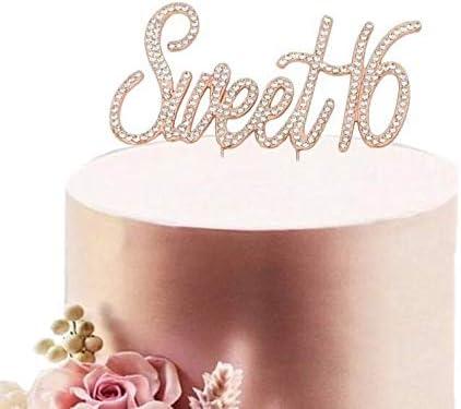 Terrific Sweet 16 Rose Gold Cake Topper 16 Birthday Cake Topper Sweet Personalised Birthday Cards Veneteletsinfo