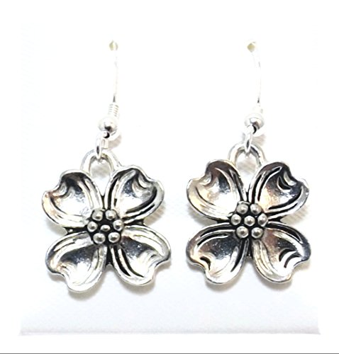 (Pewter Dogwood Charms on Hypoallergenic French Hook Dangle Earrings)