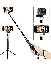 Foneso Bluetooth Selfie-Stick-Stativ 2-in-1, 360-Grad-frei drehbarer Selfie-Stick, Fotostativ, geeignet für ISO/Android-Smartphones wie iPhone, Huawei, Samsung und andere