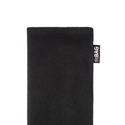 fitBAG Classic Schwarz Handytasche Tasche aus original Alcantara mit Microfaserinnenfutter für iPhone 5s 16GB 32GB 64GB