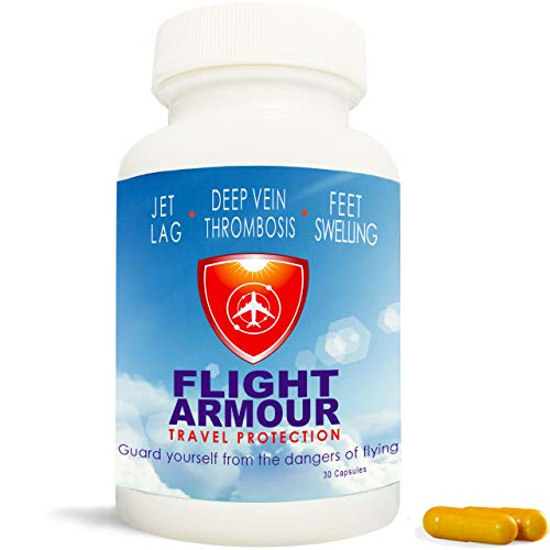 FLIGHT ARMOUR - Jet Lag Prevention+ Feet & Leg Swelling Relief (Feel Like You Never Flew) | Blood Clotting Prevention | Superior Travel Recovery | Remedy, Pill, Flying, Circulation, Compression Sock