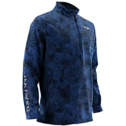 HUK Tidewater Camo 1/4 Zip, Dark Blue Heather, Large