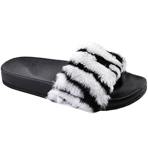Zebra Flip Flop Sandals - Women's Faux Fur Puffy Slide Flat Flip Flop Sandal Slipper (Zebra)