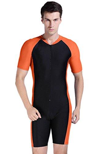 Short Sleeve One Piece Swimsuit Surfing Suit Orange ()