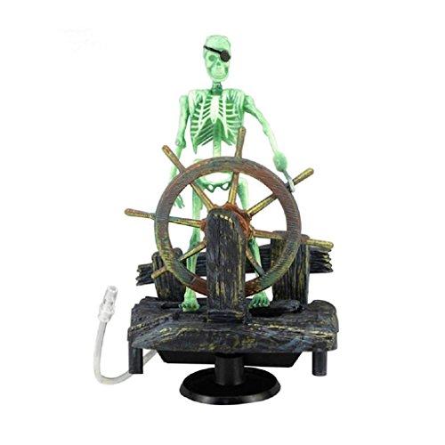 Fish Tank Decorations Skull, Action-Aquarium Skeleton Pirate Captain Fish Tank Landscape Decoration Ornament