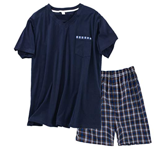 (ENJOYNIGHT Men's Summer Short Sleeve Pajamas Adult Casual Shorts & Shirt PJ Set (Medium, NewV_Navy))