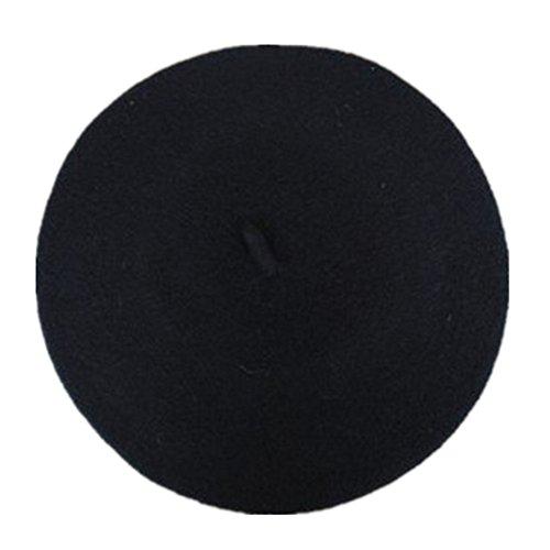 Pusheng Damen Fashion Wolle, Warm, Filz, französische Baskenmütze Beanie Cap Tam Gr. One size, Schwarz - Schwarz