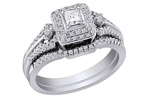 1/2 Carat (Cttw) Princess Diamond Bridal Wedding Engagement Ring 14K White Gold Band Set Ring Size-9