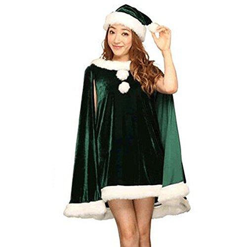 iYBUIA Christmas Party Dress Christmas Hats Set Bunny Costumes Uniforms Temptation(Green,One Size) -