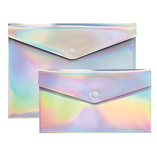 Divoga Poly Snap Letter and Check Envelopes, 9 1/16 x 12 1/4, Rainbow Foil, Pack of 2