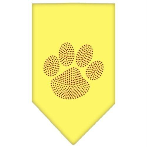 Paw Red Rhinestone Dog Bandanas Yellow Large