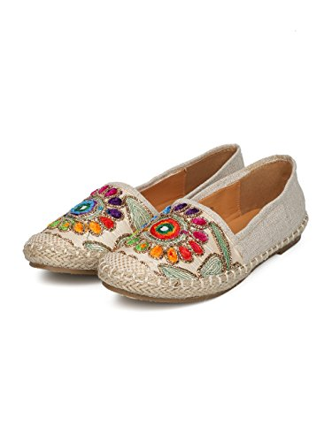 Women Linen Embroidered Nature Espadrille Flat HE51 - Beige Mix Media (Size: 10) by Alrisco (Image #4)