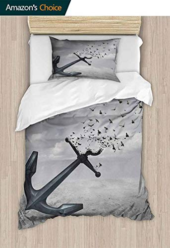 - Birds 2pcs Duvet Cover Sets, Anchor Turns into Group of Flying Birds Seagulls for Liberty and Hope Mood Graphic Art, 3D Print 100% Polyester Fiber Quilt Cover & Pillowcases,63 W x 82 L Inches, Grey