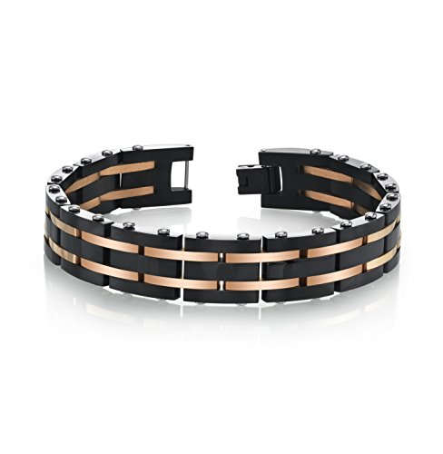 SPARTAN Men's 8 Inch Long Two-Tone Stainless Steel Men's Bracelet | Rose Gold & Stainless Steel Black with Black or White Sapphires | Fits 7 to 8 Inch Wrists Men's Accessories Fashion Bracelet ()