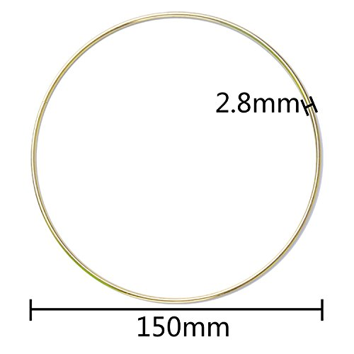 BronaGrand 6 pcs Metal Rings Hoops Macrame Rings for Dream Catchers and Crafts,6 inch, Gold and Silver