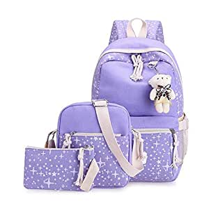 4Pcs/set Women Canvas School Backpacks College Schoolbag Fashion Plecak for Teenager Girl And Boys Rucksack Shoulder Bag mm
