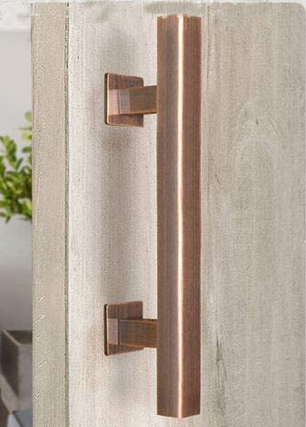 SUYA 12 Inch Sliding Barn Door Handle Heavy Duty Pull and Flush Handle Set Large Rustic Two Side Design Fits for Kitchen Gate Sheds Garage,Full Antique Copper Finish