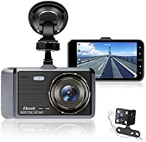 "Dash Cam, Abask Dash Camera for Cars with Night Vision and Parking Dash Cam Front and Rear Dual Camera with 4"" IPS..."