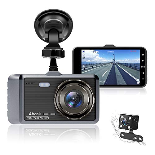 Dash Cam, Abask Dash Camera for Cars with Night Vision and Parking Dash Cam Front and Rear Dual Camera with 4 IPS Screens, 1080P Full Hd, G-Sensor, Wdr 170°Wide Angle and Motion Detection