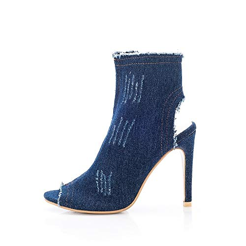 Dark bluee US8   EU39   UK6   CN39 Dark bluee US8   EU39   UK6   CN39 Women's Slingback Synthetics Spring & Summer British Boots Stiletto Heel Open Toe Dark bluee Light bluee