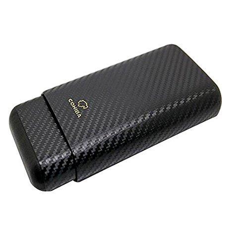 Dakoufish Carbon Fiber Leather 3 Tube Wooden Cigar Case/Holder Travel Humidor