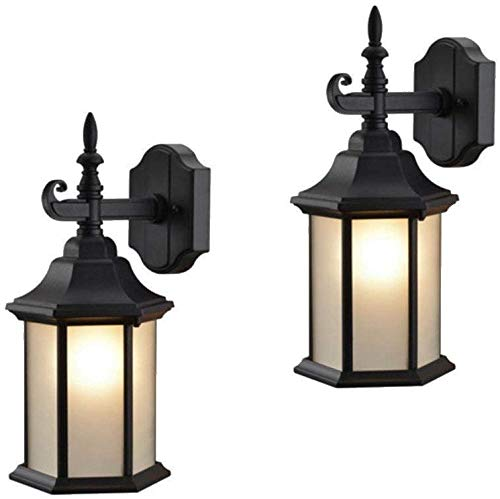 Hardware House 19-2057 Textured Black Outdoor Patio / Porch Wall Mount Exterior Lighting Lantern Fixtures with Frosted Glass - Twin Pack Capitol Outdoor Wall Lantern