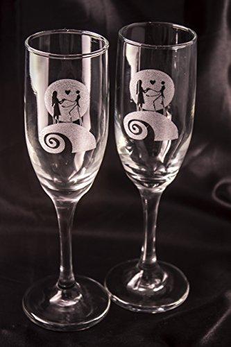 Jack And Sally Wedding (Nightmare Before Christmas Champagne Glass)