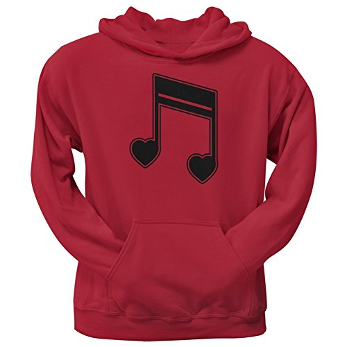 16th Note Hearts Red Adult Hoodie - Large