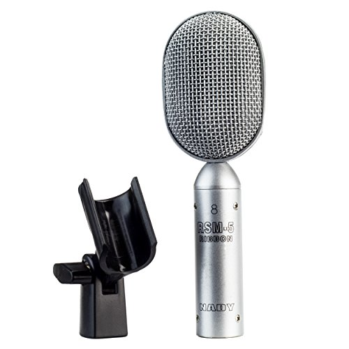 Nady RSM-5 Ribbon Microphone - Unique compact shape perfect for close miking, includes microphone clip and soft cloth pouch