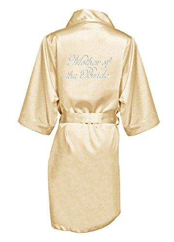Zynotti Women's Rhinestone Mother of The Bride Bridal Party Getting Ready Wedding Kimono Champagne Gold Satin Robe - - Womens Embroidered Robe