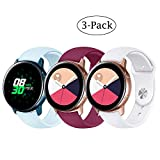 Fit Samsung Galaxy Watch (42mm)/ Galaxy Watch Active (40mm) Bands, 3Pack 20mm Quick Release Stylish Sport Silicone Bands Straps Wristbands Bracelet Watch Band for 42mm Galaxy Watch (Blue Red White)