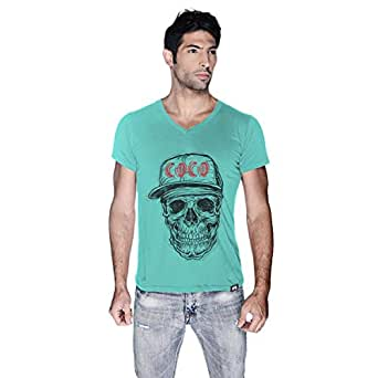 Creo Black Red Coco Skull T-Shirt For Men - S, Green