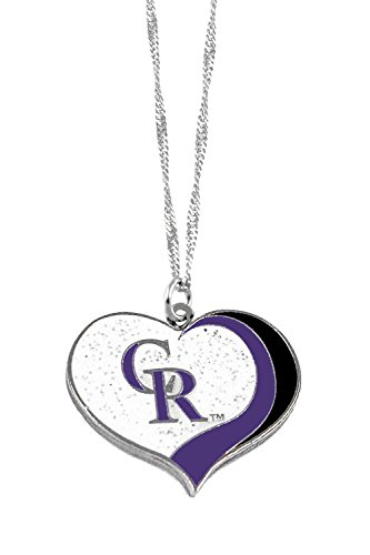 aminco Colorado Rockies MLB Sports Team Logo Charm Gift Glitter Heart Necklace