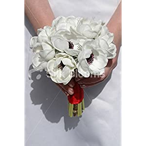 White Real Touch Anemone Artificial Bridesmaids Wedding Bouquet 42
