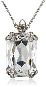 "Sorrelli ""Snow Bunny"" Neutral Large Emerald Cut Crystal Pendant Necklace"