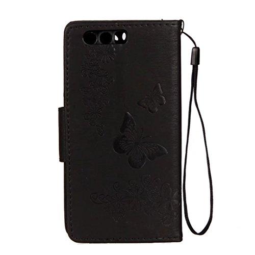 LEMORRY Huawei Honor 9 Hülle Tasche Ledertasche Flip Beutel Haut Slim Bumper Schutz Magnetisch Schließung SchutzHülle Weich Silikon Cover Schale für Huawei Honor9 / STF-L09, Glücklich Schmetterling (V Schwarz