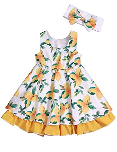 Toddler Baby Girl Sleeveless Summer Dress Set Lemon Floral Sundress for Girls 6-12Months