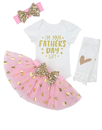 Happy Fathers Day Baby Girl Outfit Letter Print Rompers+Tutu Dresses Shorts+Leggings+Headband 4PCS Skirt Set 3-6 Months - Girl Happy Baby