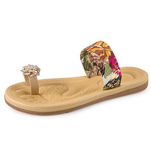 ◕‿◕Watere◕‿◕ Summer Women's Non-Slip Flip Flops Fashion Bohemia Sweet Print Sandals Flat Roman Beach Casual Slippers Red]()