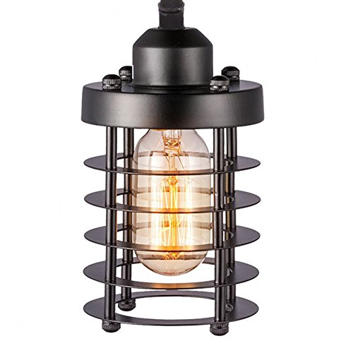 H A Industrial Lighting Decorative Chandelier Pendant Lighting Fixture Vintage Ceiling Light with Edison Led Bulbs Cylinder