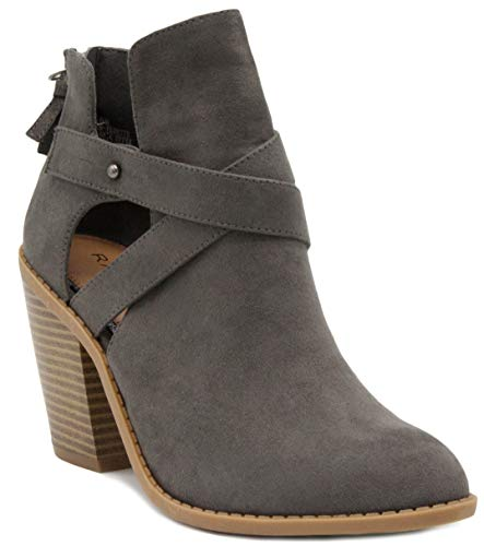Suede Zip (Sugar Women's Venti Transitional Block Heel Ankle Boot Ladies Bootie with Criss Cross Straps and Back Zip Grey 8)