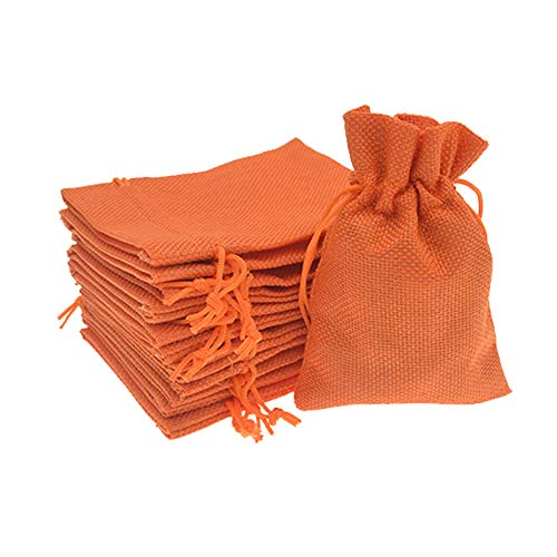 Bezall® 20pcs Drawstring Burlap Jute Sacks Jewelry Candy Pouch Christmas Wedding Party Favor Gift Bags (Orange, 2.7 x 3.5
