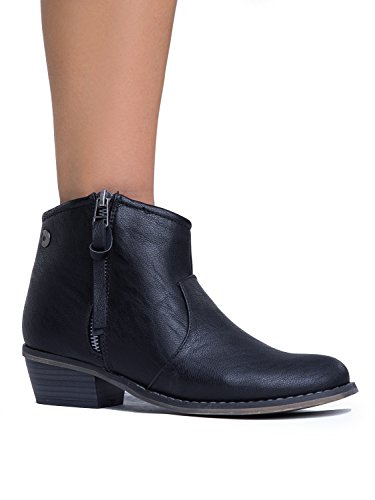Breckelles Dorado-11 Western Boot Zip Up Stivaletto Bootie Nero - 11