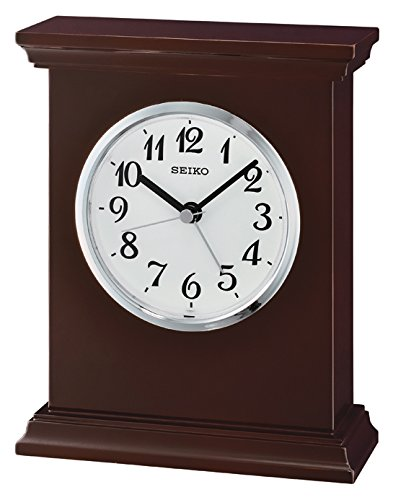 Seiko Wooden Mantel Alarm Clock, Wood, Black QXE053B