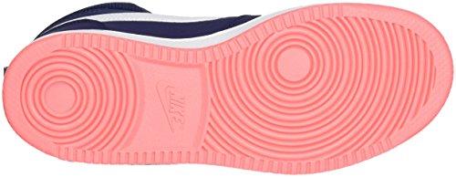 Nike Femmes Tribunal Borough Mid Basketball Chaussures Binaire Bleu / Blanc / Lave Lueur