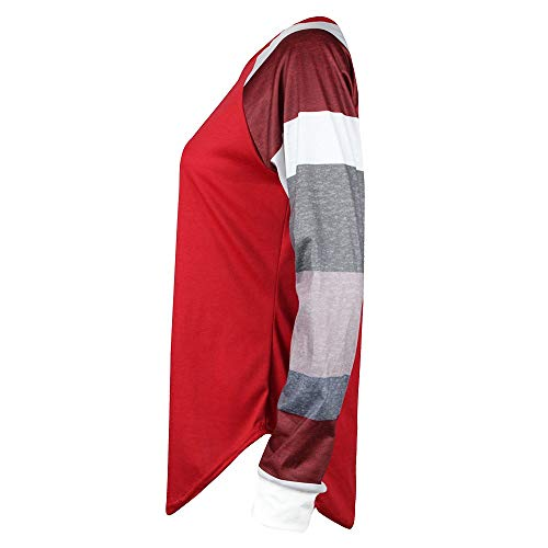 Pull Manches Longues Manches Tops Sweat Longues Chemise Shirt T Longues Manches Manches Shirt Longues Chic Femme Rouge qUfwq0x4