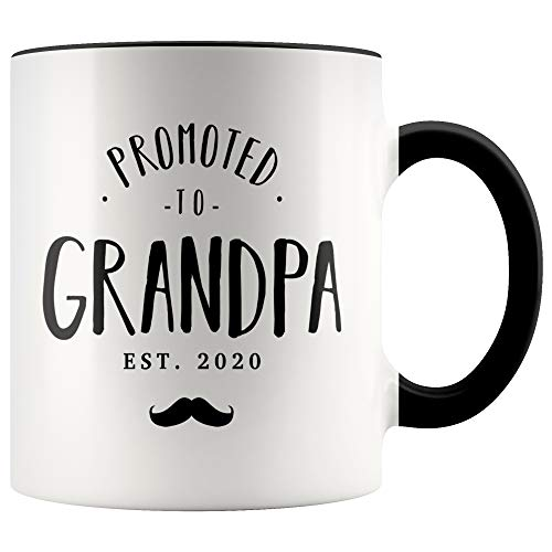 YouNique Designs Only The Best Dads Get Promoted To Grandpa Mug, 11 Ounces, You're Going To Be A Grandpa 2020 (Black Handle)
