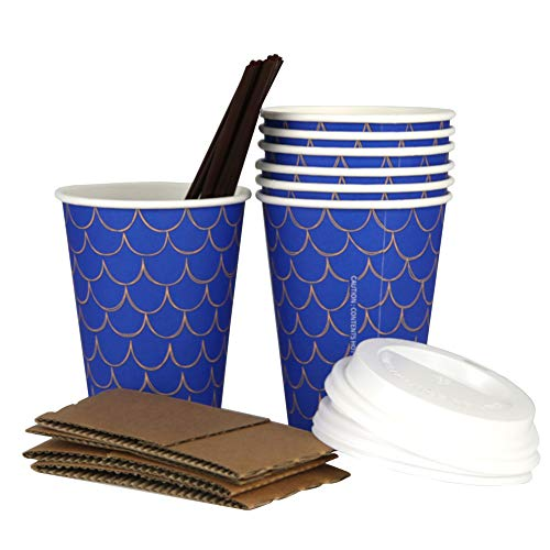 Stylish Disposable Paper Coffee Cups, 100 Pack-12Oz cups with lids, perfect for on-the-go hot or cold -